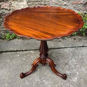Chippendale Revival Mahogany Circular Pie Crust Tripod Table