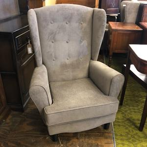 Mink Fabric Upholstered Wing Back Armchair